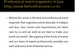 professional event organizers in goa http www behindthescene co in 1