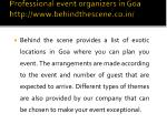 professional event organizers in goa http www behindthescene co in 3