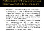 professional event organizers in goa http www behindthescene co in 4