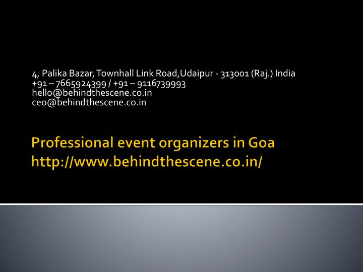 professional event organizers in goa http www behindthescene co in n.