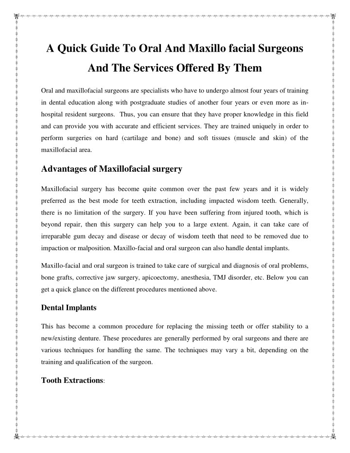a quick guide to oral and maxillo facial surgeons n.