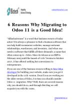 6 reasons why migrating to odoo 11 is a good idea