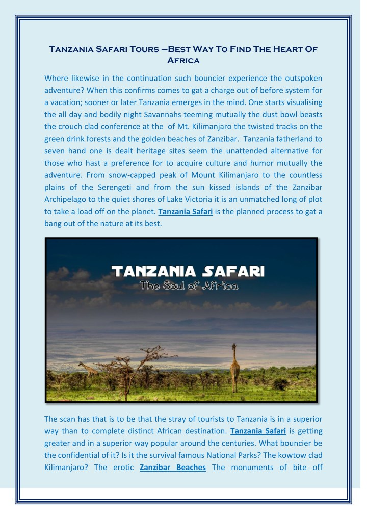 tanzania safari tours best way to find the heart n.