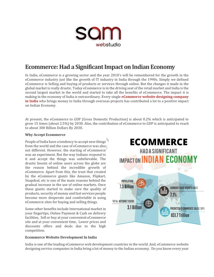 ecommerce had a significant impact on indian n.