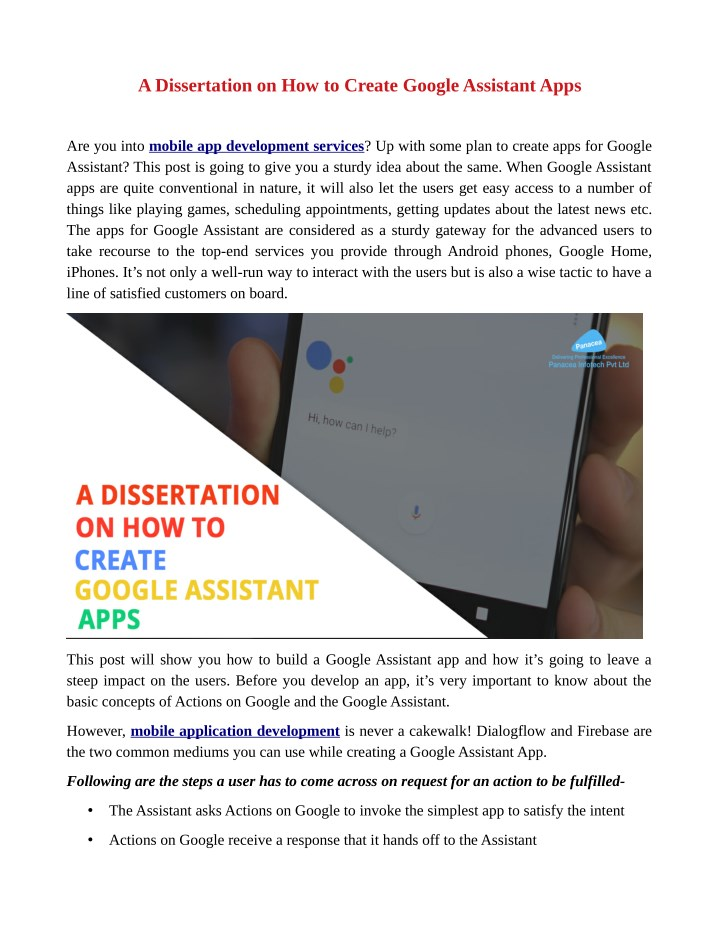 a dissertation on how to create google assistant n.