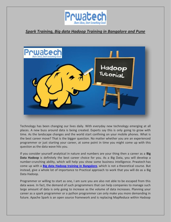 spark training big data hadoop training n.