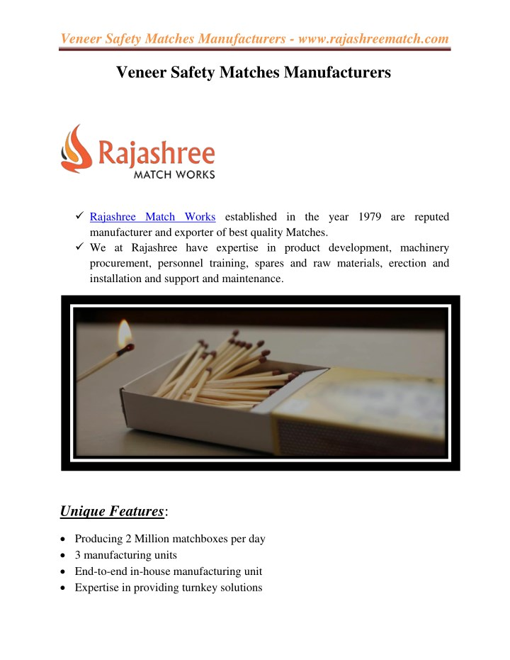 veneer safety matches manufacturers n.