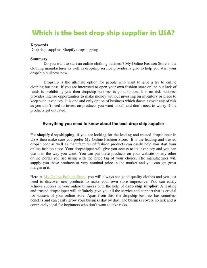 which is the best drop ship supplier in usa n.