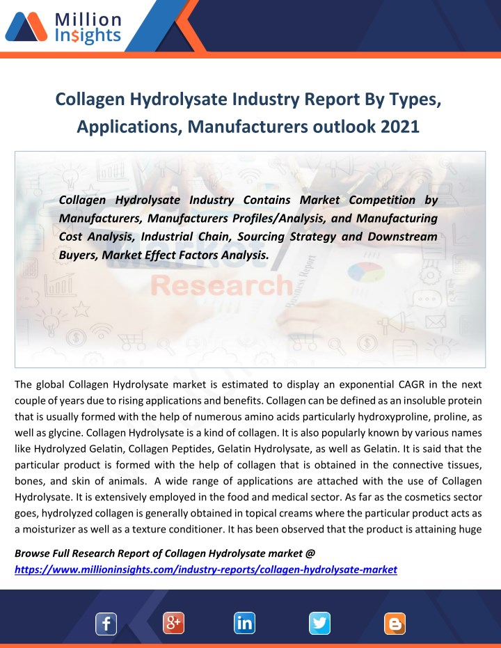 collagen hydrolysate industry report by types n.