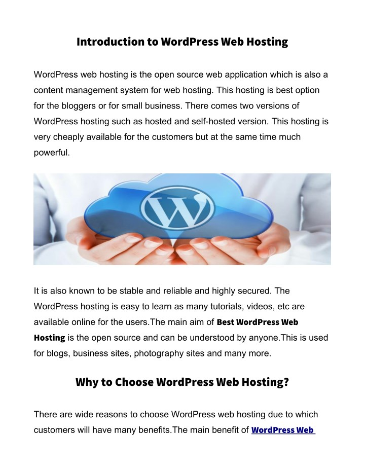 introduction to wordpress web hosting n.