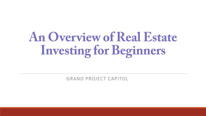 an overview of real estate investing for beginners n.