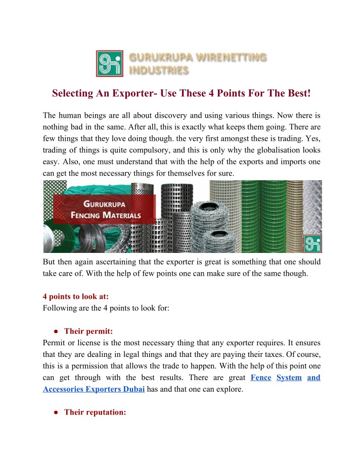 selecting an exporter use these 4 points n.