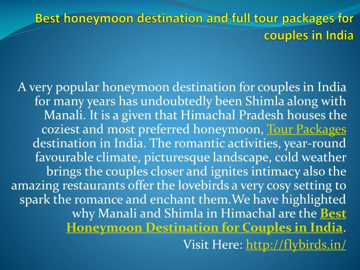 best honeymoon destination and full tour packages for couples in india n.