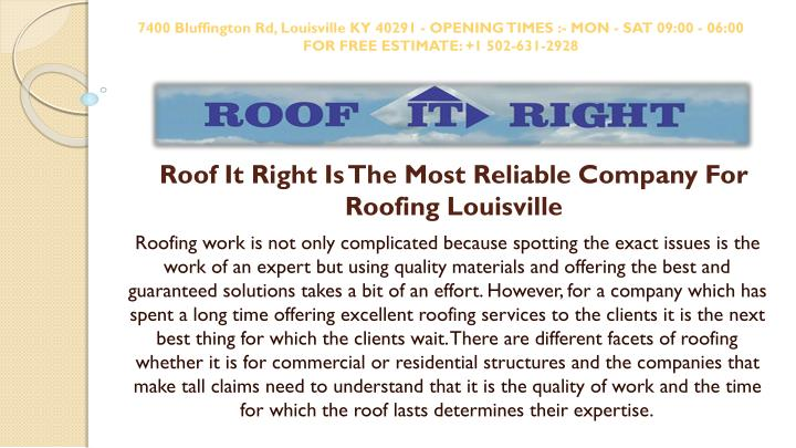 roof it right is the most reliable company for roofing louisville n.