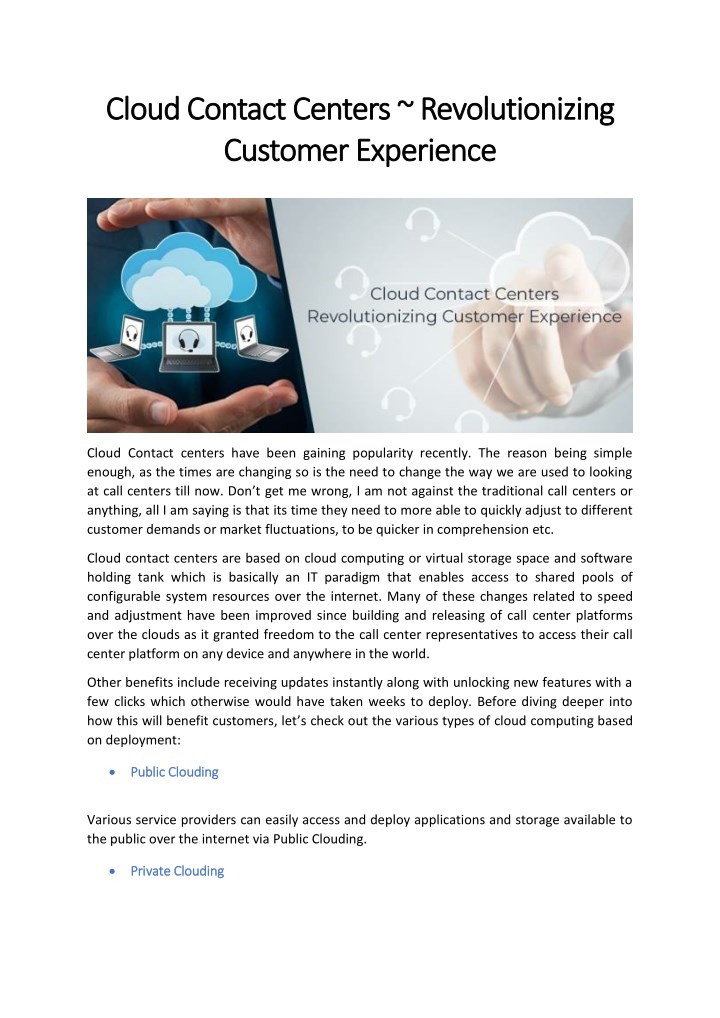 cloud contact centers revolutionizing cloud n.