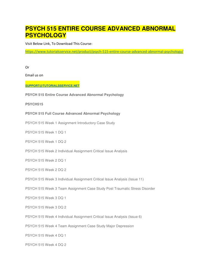 psych 515 entire course advanced abnormal n.