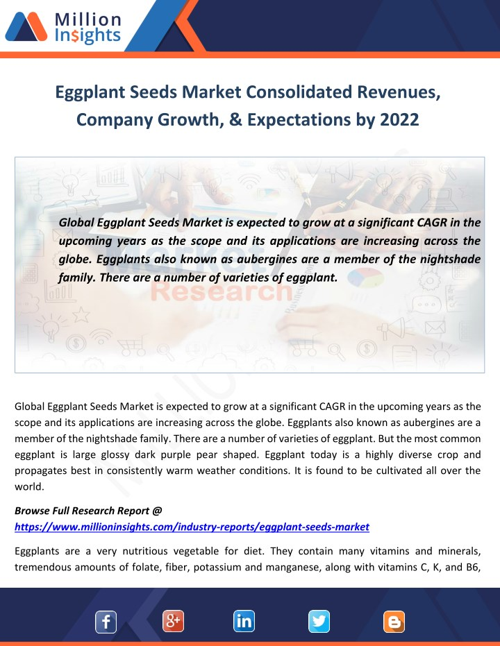 eggplant seeds market consolidated revenues n.