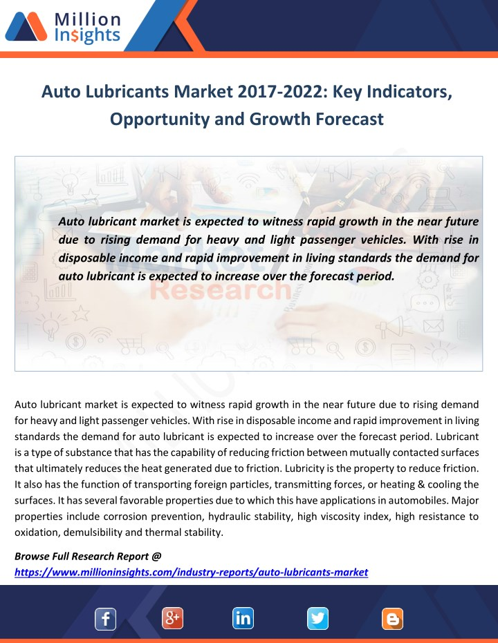 auto lubricants market 2017 2022 key indicators n.