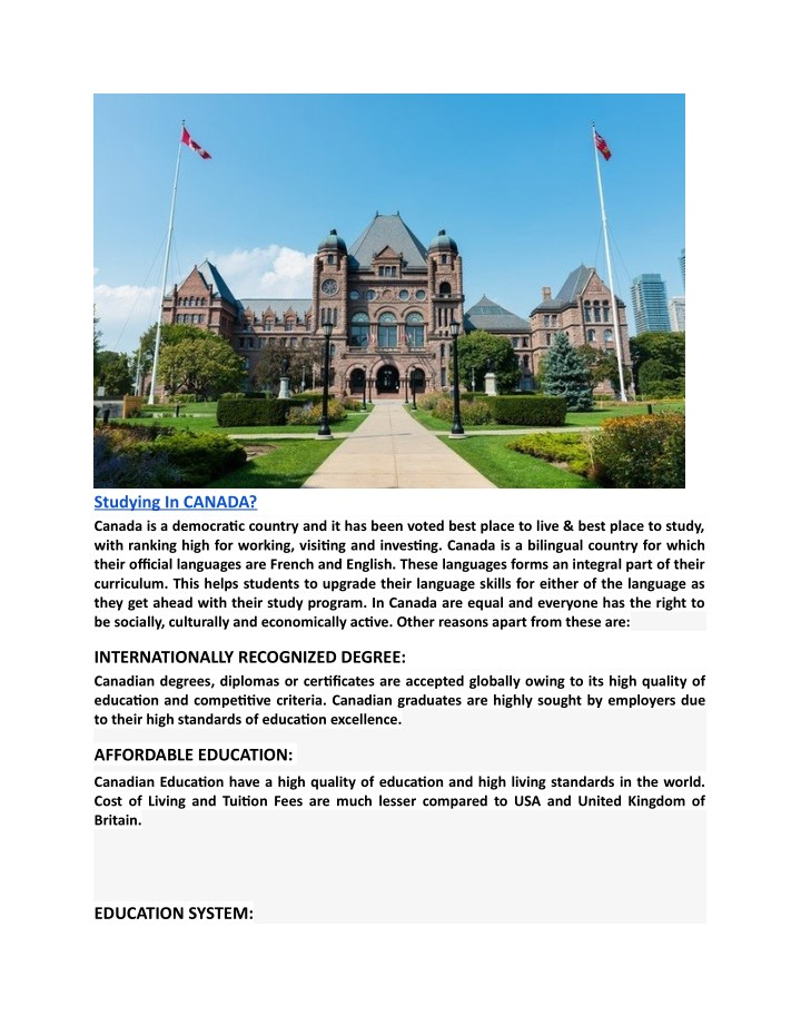 studying in canada canada is a democratic country n.