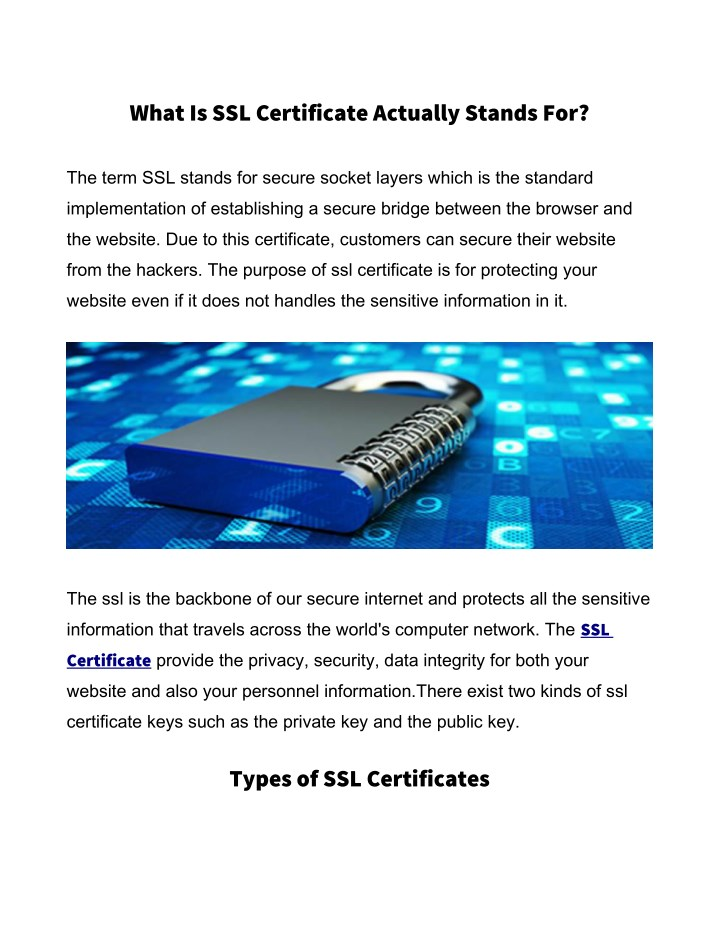 what is ssl certificate actually stands for n.