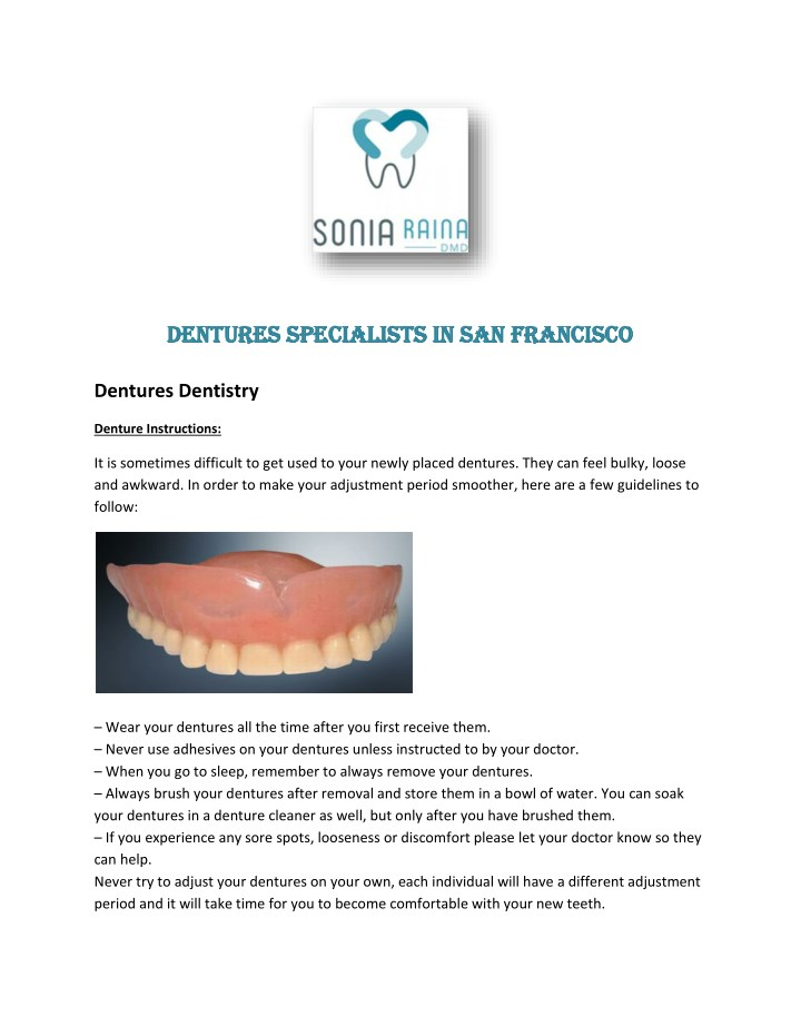 dentures specialists in san francisco dentures n.