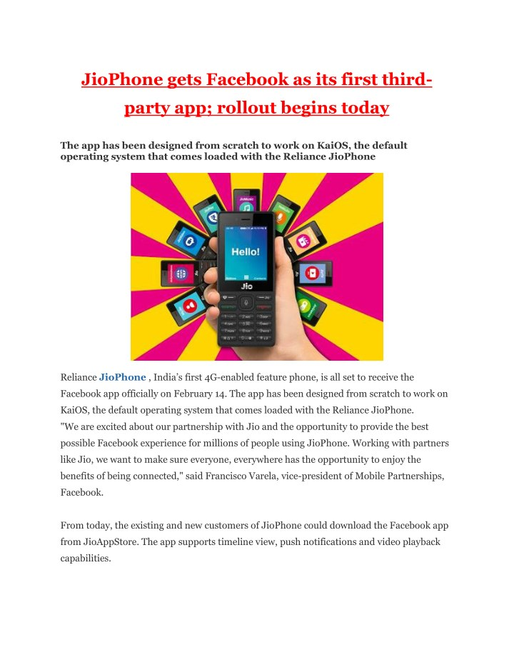 jiophone gets facebook as its first third n.