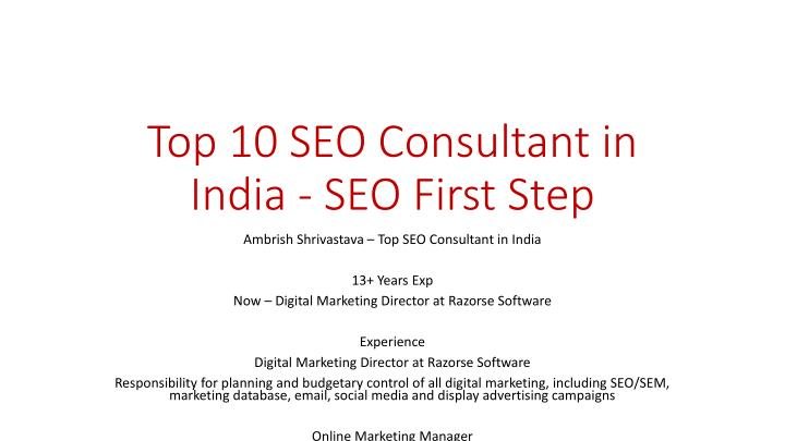 top 10 seo consultant in india seo first step n.