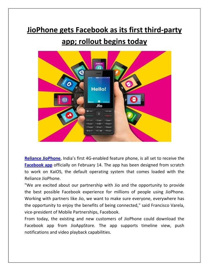 jiophone gets facebook as its first third party n.