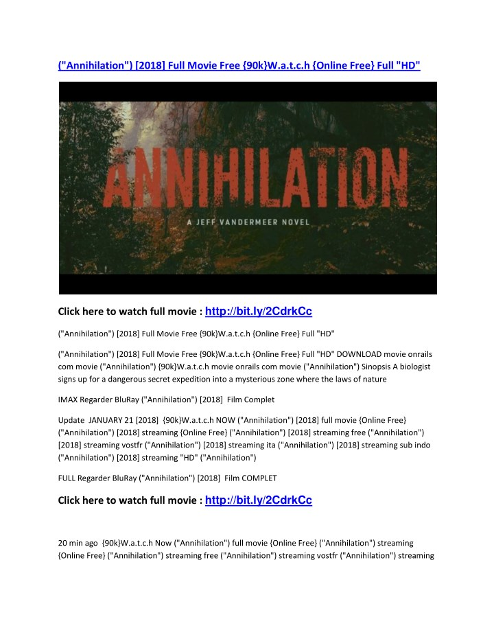 annihilation 2018 full movie free n.