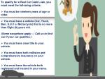 to qualify for a real car cash loan you must meet
