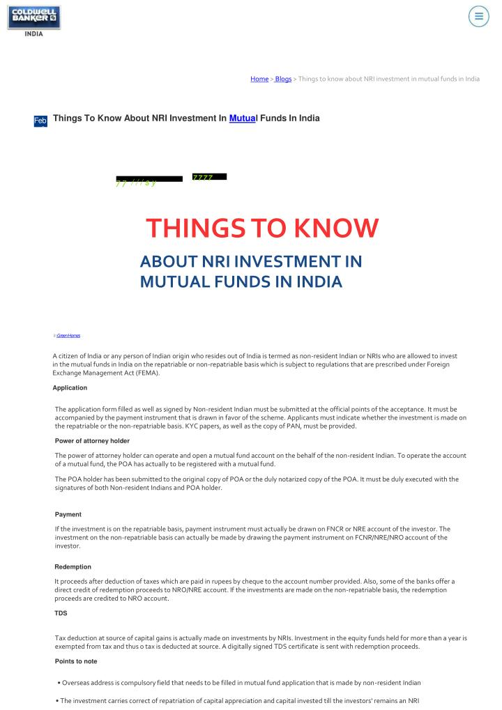 home blogs things to know about nri investment n.