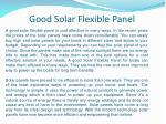good solar flexible panel