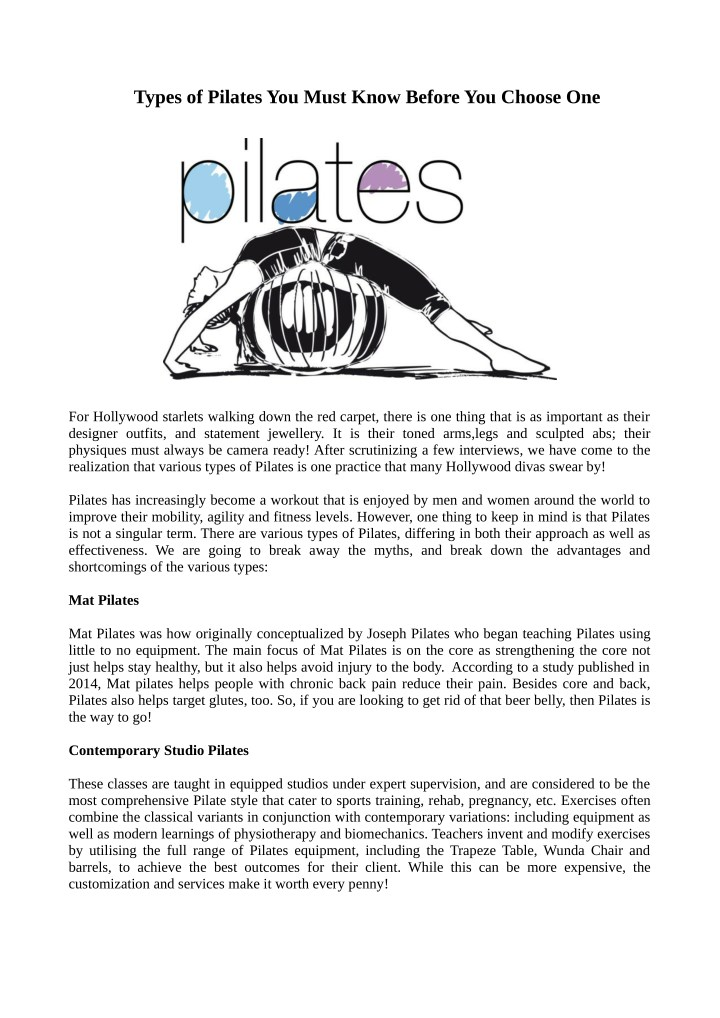 types of pilates you must know before you choose n.
