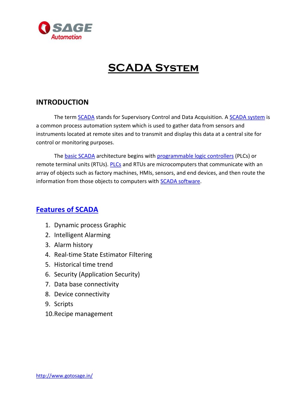 PPT - PDF on SCADA System   SCADA Courses  Sage Automation