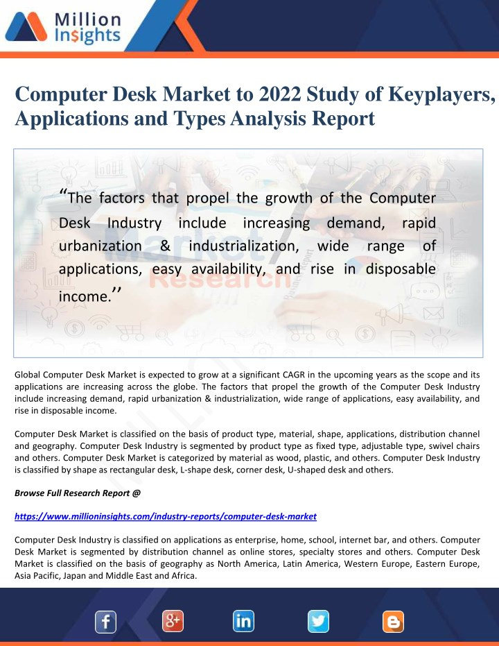 computer desk market to 2022 study of keyplayers n.