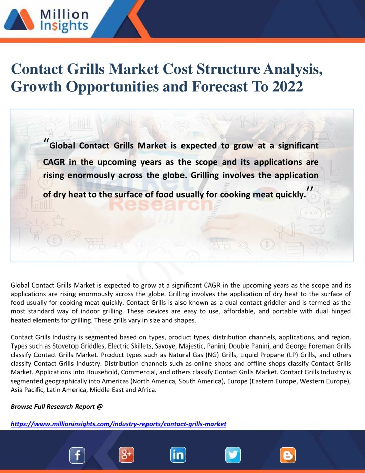 contact grills market cost structure analysis n.