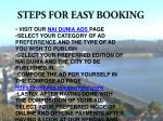 steps for easy booking