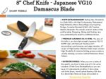 8 chef knife japanese vg10 damascus blade