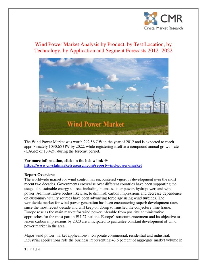 wind power market analysis by product by test n.