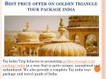 best price offer on golden triangle tour package india