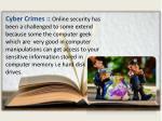 cyber crimes online security has been