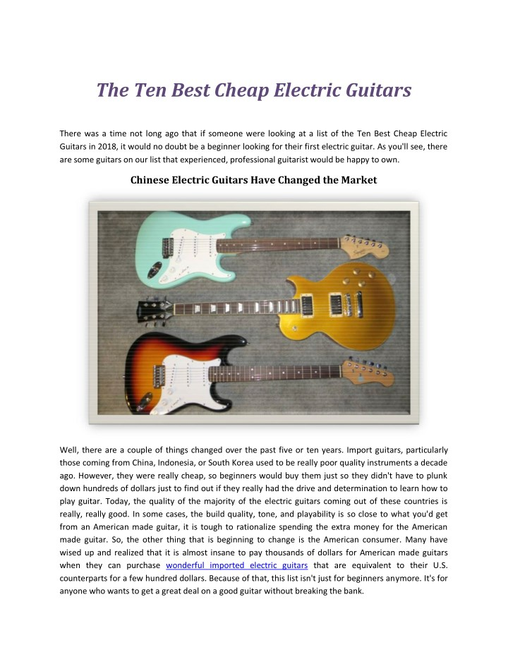 the ten best cheap electric guitars n.