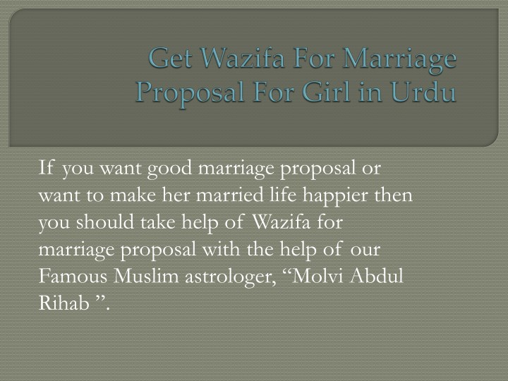 if you want good marriage proposal or want n.