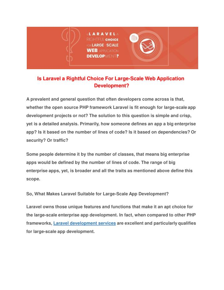 is laravel a rightful choice for large scale n.