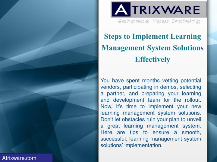 steps to implement learning management system solutions effectively n.