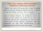 one year unique pgd courses distance learning courses 3