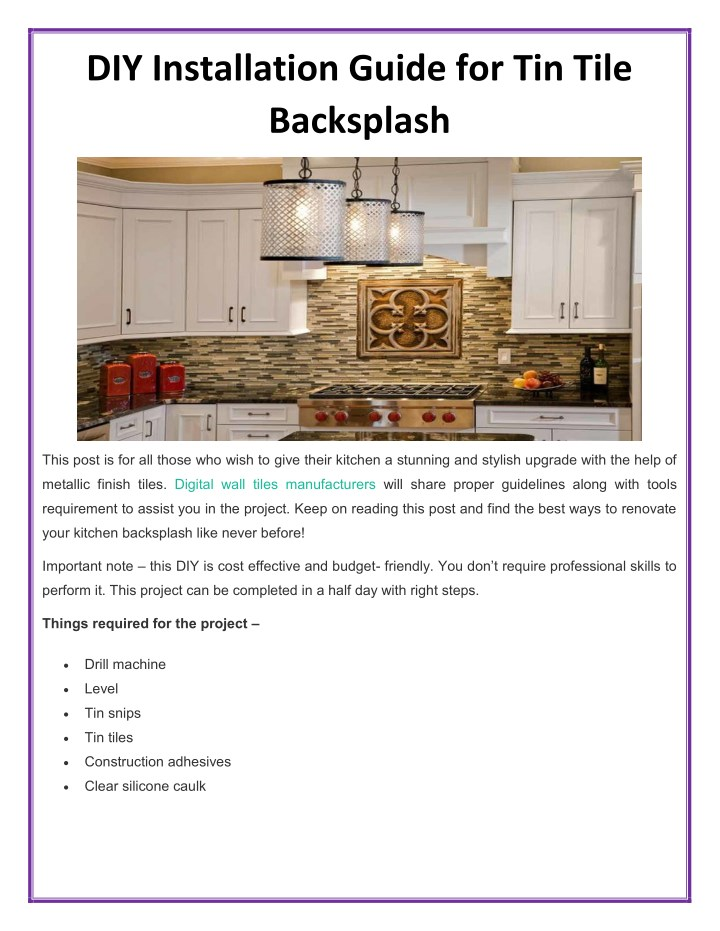 diy installation guide for tin tile backsplash n.