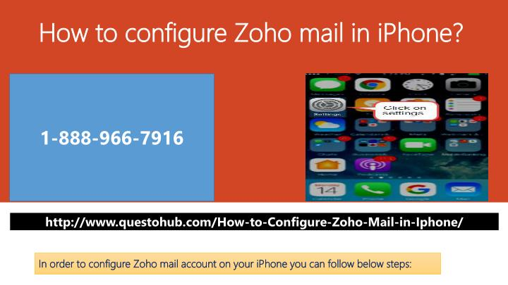 how to configure zoho mail in iphone n.