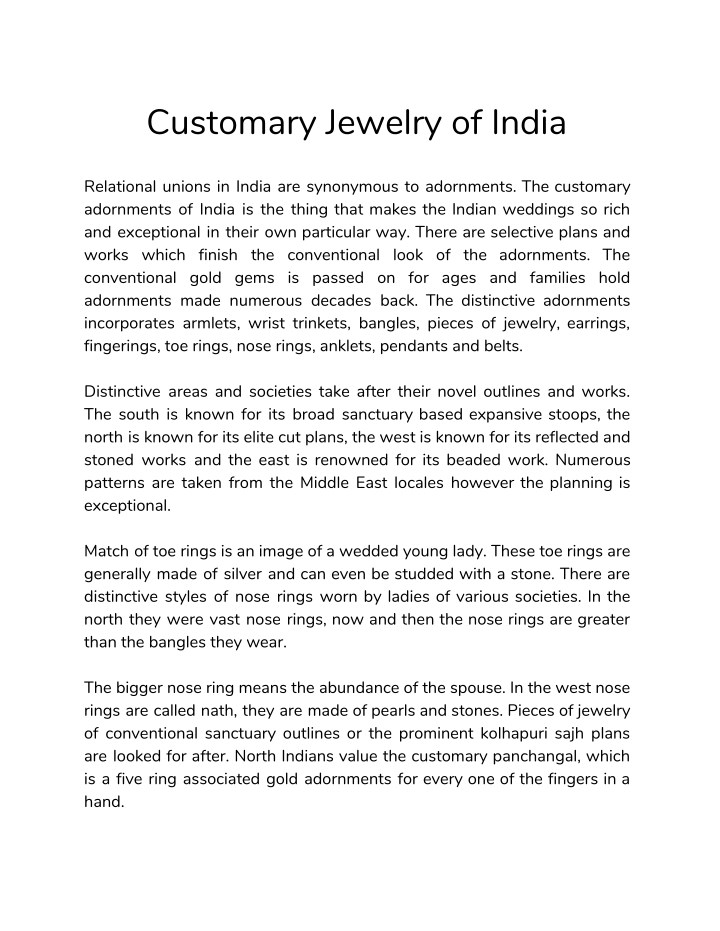 customary jewelry of india n.