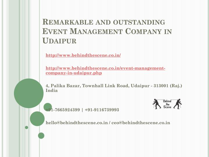 remarkable and outstanding event management company in udaipur n.